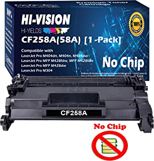 HI-VISION HI-YIELDS Compatible Standard Yield 58A CF258A Toner Cartridge Replacement (DIY Chip), use for Laserjet Pro M404dn M404dw M404n MFP M428fdw M428fdn M428dw M304 (1-Pack of Black)