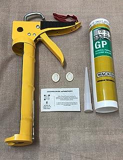 Wacker - Professional Silicone Sealant Gun Applicator With Wacker GP Premium Sealant For Bonding, Gap Filling & Repair (Clear) (With Nozzle, Covers & Guarantee Card)