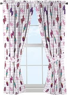 Nickelodeon JoJo Siwa Sweet Life Pink/White Curtain Set (2 Panels, 2 Tiebacks), Sweet Drapes, 4 Piece