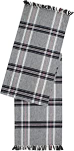 COTTON CRAFT 2 Pack Stanton Plaid Table Runner 14 x 108 in - Black Ivory Trendy & Modern Plaid Design 100% Cotton Table Runner Elegant Décor for Indoor & Outdoor Events.
