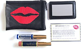 LipSense Gift Bundle with 1 Color, 1 Glossy Gloss, 1 Mesh Pouch Lipsense Lipstick Holder, 1 Mirror, and 1 Application guide (Praline Rose)