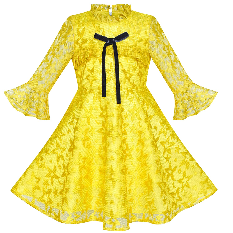 子供ドレス 女の子ドレス のお嬢様ドレス 紫 蓮 スリーブ レース パーティー 110/115/125/130/140/150cm
