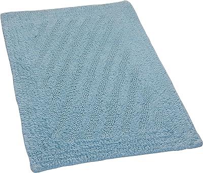 Castle Hill 100% Cotton Linear Reversible Bath Rug 17x24 Light Blue