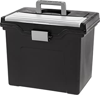IRIS USA, Inc. HFB-24E-TOP Portable Letter Size File Box with Organizer Lid, 4 Pack, Black, Large,
