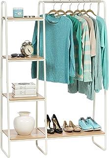 IRIS USA Metal Garment Rack with Wood Shelves, White and Light Brown PI-B3