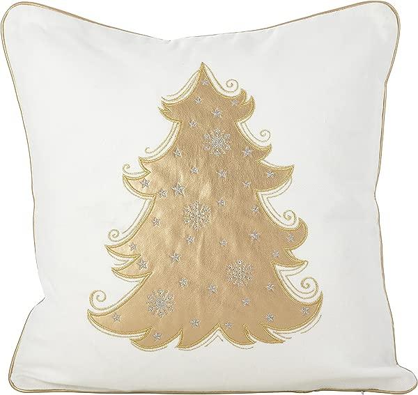 SARO LIFESTYLE Metallic Christmas Tree Design Cotton Poly Filled Throw Pillow 18 White