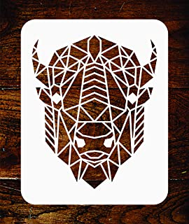 Bison Stencil -10 x 12.5 inch - Reusable Geometric Decor American Buffalo Head Wall Stencil Template - Use on Paper Projects Scrapbook Journal Walls Floors Fabric Furniture Glass Wood etc.