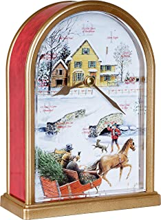 Sleigh Ride 12 Song of Carols of Christmas Table Clock Home Deco Multicolor Unique Gift Selection (Red Marble)