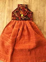 Harvest Autumn Fall Theme Hanging Kitchen Towels, Orange Towels, 100% Cotton