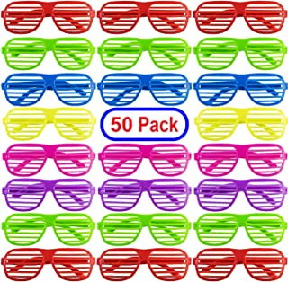 Mega Pack 50 Pairs of Kids Plastic Shutter Shades Glasses Shades Sunglasses Eyewear Party Favors and Party Props Assorted Colors