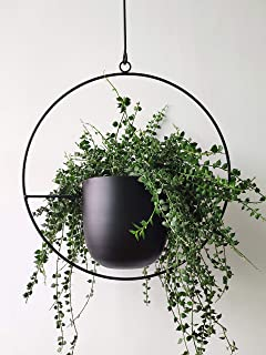 RISEON Boho Black Metal Plant Hanger,Metal Wall and Ceiling Hanging Planter, Modern Planter, Mid Century Flower Pot Plant Holder, Minimalist Planter for Indoor Outdoor Home Decor (Style A)