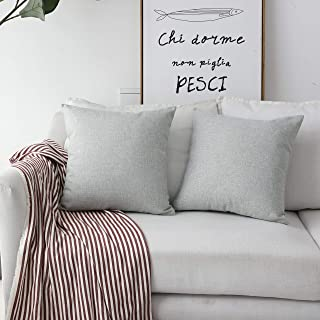 Home Brilliant Burlap Lined Linen Decorative Pillow Covers Cushion Covers for Couch, 2 Pack, 18x18 inch(45x45cm), Light Grey