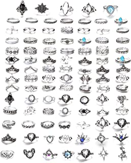 FIBO STEEL 42-101 Pcs Vintage Knuckle Rings for Women Girls Stackable Midi Finger Ring Set