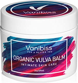 Organic Vulva Balm Cream, Vaginal Moisturizer, Intimate Skin Care, Menopause Support by Vanibiss - Relieves Dryness, Itching, Burning, Redness, Chafing, Odor, Irritation - Estrogen Free (2 Ounces)