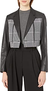 Women's Houndstooth Faux Leather Cropped Blazer