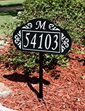Address America Le Paris Custom Address Sign Plaque USA Hand Crafted Sturdy Metal Yard Sign with 100% Reflective House Numbers, Monogram - Elegant Lawn Signage for 911, delivery 24/7 Visibility