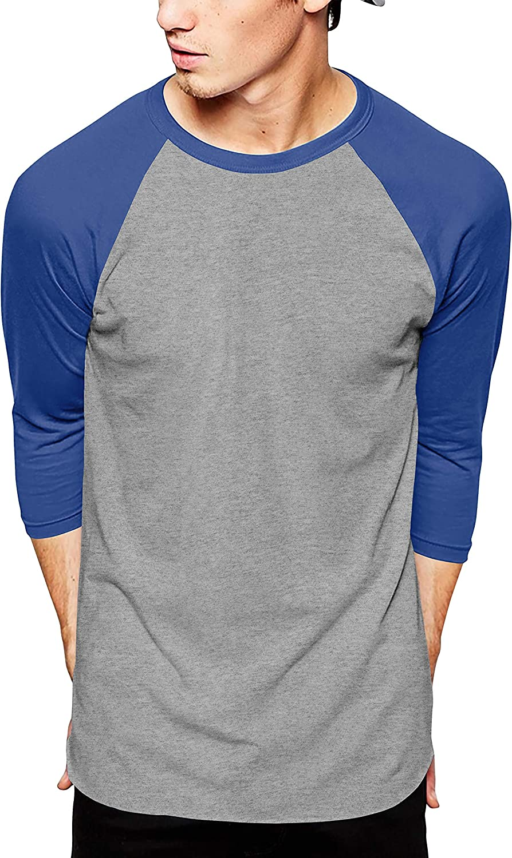 Ma Croix Essentials Mens Premium Baseball Raglan Jersey 3/4 Sleeve Tee Shirts