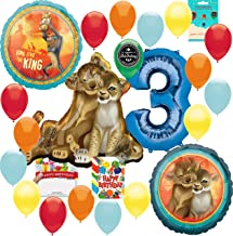 Lion King Party Supplies 3rd Birthday Balloon Decoration Supply Bundle with Happy Birthday Card and 8 Treat Bags