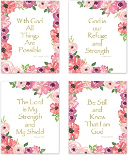 KB & Me Inspirational Bible Verse Wall Art Pink Green and Purple Plum Floral Christian Quotes Religious Posters Scripture Sayings Psalm Home Décor Prints – Set of 4-8 x 10 inches