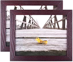 """DII Espresso Wall Picture Frame 8x10"""" with White Mat for 5x7"""" Picture with Protective Glass Covering - For Wall or Desk Di..."""