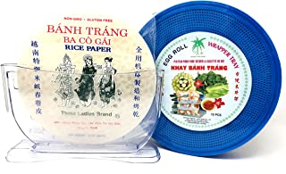 Summer Roll (Fresh Spring Roll) Kit with Rice Paper Wrappers, Rice Paper Wrapper Trays, Rice Paper Water Bowl