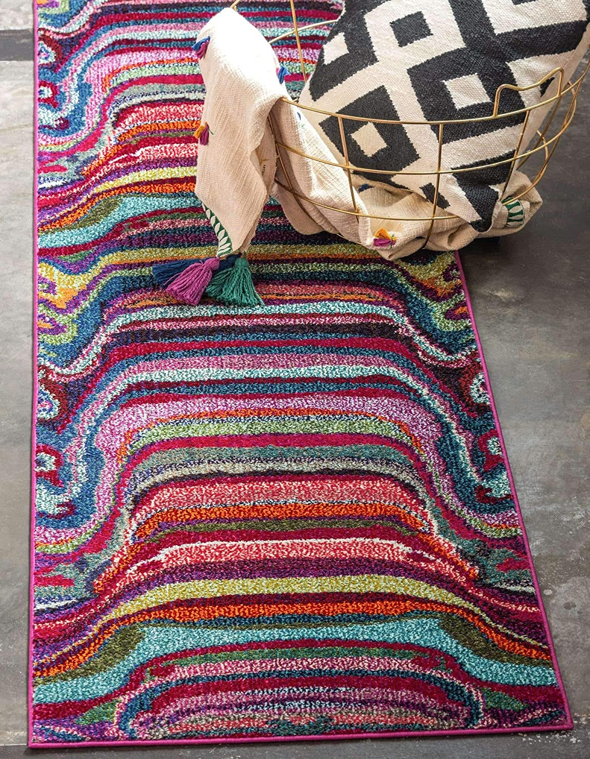 Great interest Seasonal Wrap Introduction Unique Loom Chromatic Collection Modern Rustic Rug Area Abstract