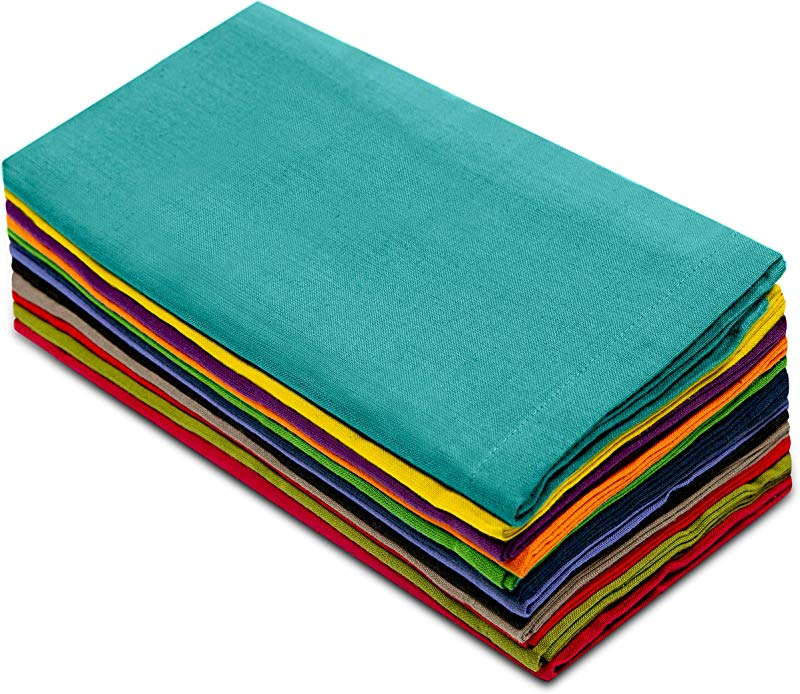 Cotton Craft Dinner Napkins 20 By 20 Inch Pack Of 12 Multi Colors