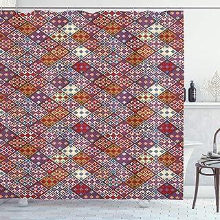 ABAKUHAUS Colorful Shower Curtain, Nomadic Rug Tribal, Cloth Fabric Bathroom Decor Set with Hooks, 175 cm x 180 cm, Multic...