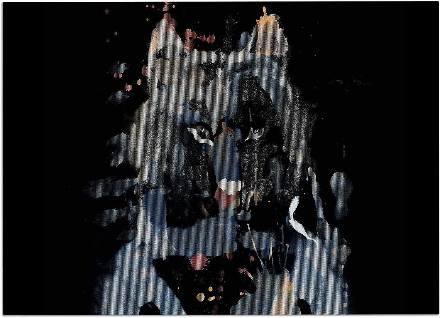 KESS InHouse FH1072ADM02 Frederic LevyHadida Watercolor Foxy Black bluee Watercolor Dog Place Mat, 24  x 15