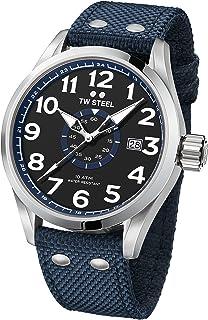 TW Steel Men's Volante Stainless Steel Japanese-Quartz Watch with Nylon Strap, Blue, 24 (Model: VS32)