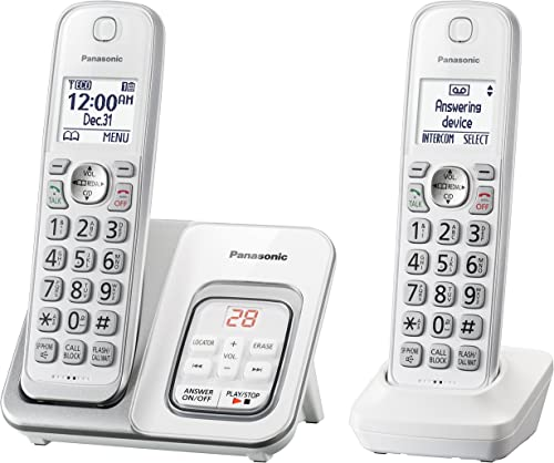 Panasonic DECT 6.0 Expandable Cordless Phone with Answering Machine and Smart Call Block - 2 Cordless Handsets - KX-T...