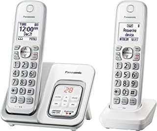 Panasonic DECT 6.0 Expandable Cordless Phone with Answering Machine and Smart Call Block - 2 Cordless Handsets - KX-TGD532W (White)