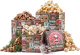 Benevelo Gifts 3 Tier Gourmet Nuts & Snacks Holiday Gift Set (Popcorn, Bark & Nuts)