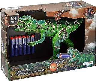 Dino Attack Lançador de Dardos Emite Som e Luz Alimentação por Bateria AG13 Indicado para +8 Anos Verde Multikids - BR102