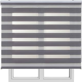 Estores Basic, Stores noche y día, Gris, 120x160cm, estores para ventana, persianas enrollables para el interior.