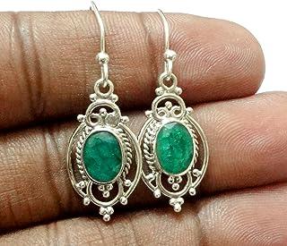 Oval Emerald 925 Sterling Silver Handmade Earrings