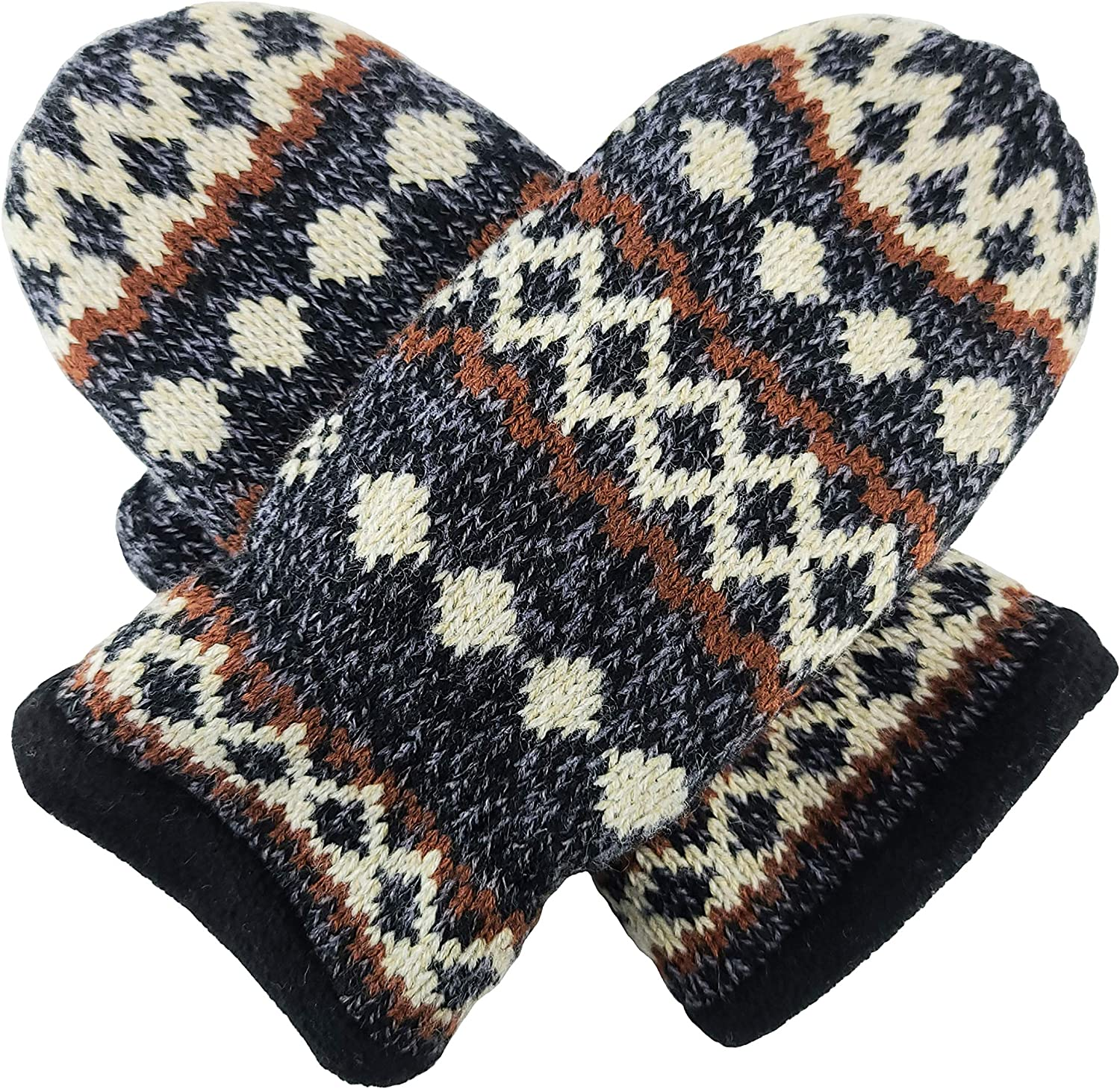 Bruceriver Knit Mittens Geometry Design for Men and Women