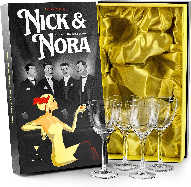 Crystal 5 初回限定 oz Retro Nick and Nora Glasses Coupe WEB限定 Set 4 Vint of