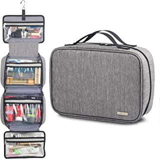LVLY Hanging Travel Toiletry Bag for Women and Men - TSA Approved Travel Toiletry Bag for Makeup, Cosmetics, Toiletries Accessories (Gray)