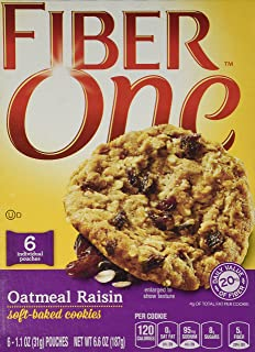 General Mills, Fiber One, Soft Baked Cookies, Oatmeal Raisin, 6.6oz Box (Pack of 4)