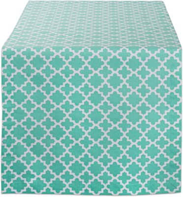 Grey NATUS WEAVER 2 Side Lattice Cotton Table Runner for Dining Room Foyer Table 12 x 36 Summer Parties and Everyday Use