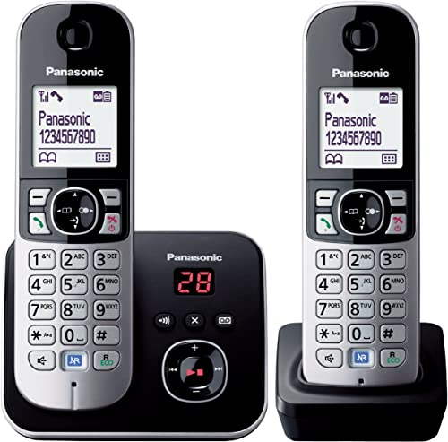 Panasonic DECT Digital Cordless Phone With Answering System And Twin-Pack Handsets, Black (KX-TG6822ALB)