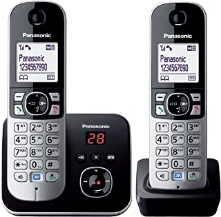 Panasonic DECT Digital Cordless Phone with Answering System & Twin-Pack Handsets, Black (KX-TG6822ALB)