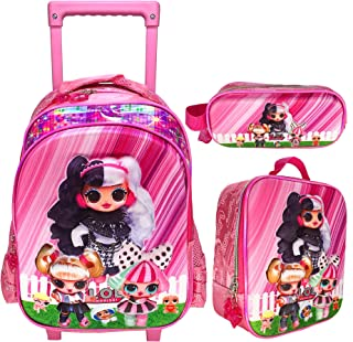 3D LOL SURPRISE SCHOOL BAG TROLLEY WITH BACKPACK FOR KIDS GIRL INCLUDE LUNCH BAG AND PENCIL POUCH | 15 INCH