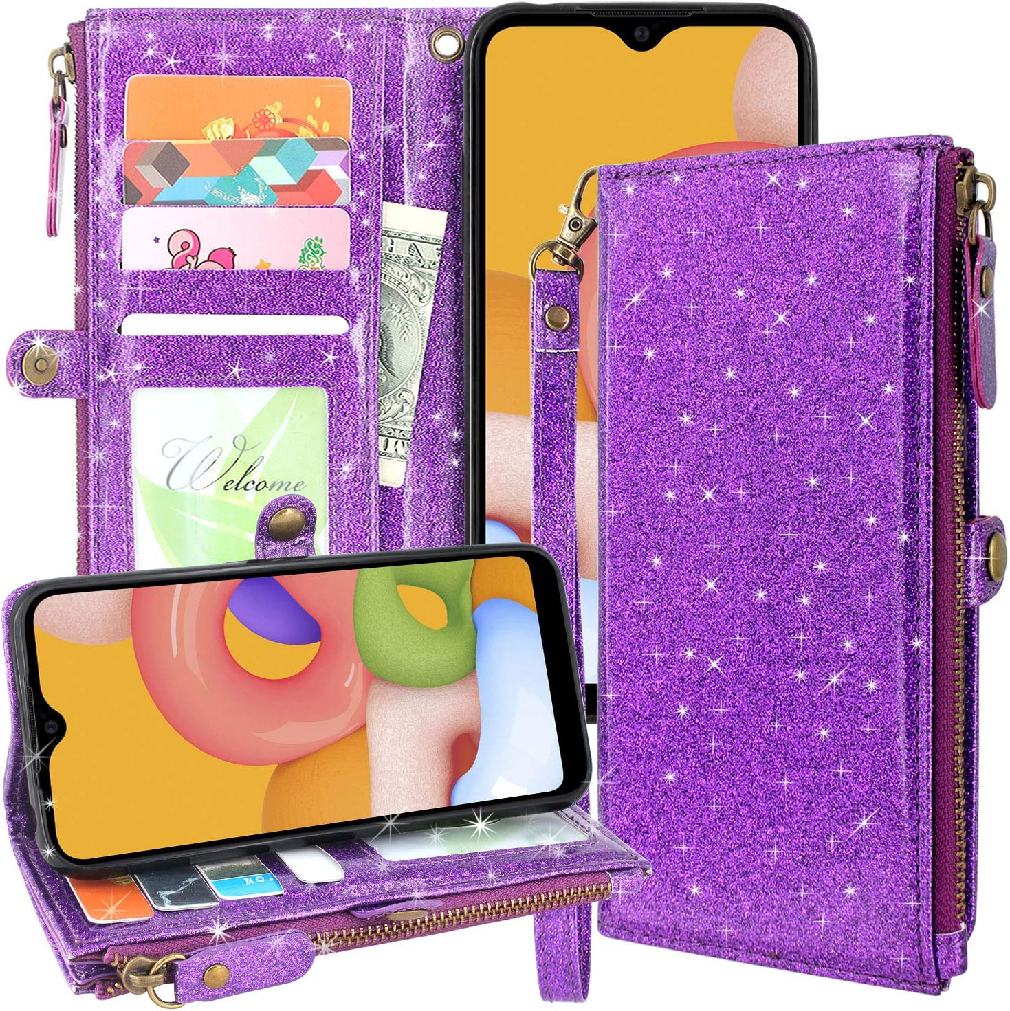 Lacass Premium Leather Flip Zipper Wallet Case Cover Stand Feature with Card Holder and Wrist Strap for Samsung Galaxy A01 2020 (Bling Purple)