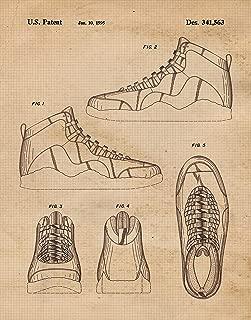 Original Nike Air Jordan 10 Shoes Patent Poster Prints, Set of 1 (11x14) Unframed Photo, Great Wall Art Decor Gifts Under 15 for Home, Office, Garage, Studio, Shop, Student, Teacher, Coach, Sports Fan