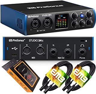 PreSonus Studio 24c USB-C Audio Interface with 2 XMAX-L Preamps, Headphone Output, and MIDI I/O with Pair of EMB XLR Cable and Extra Bundle