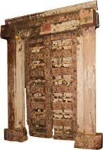 Mogul Interior 18c Antique Doors Frame Distressed Blush Teak Carved Chakra Vintage Haveli Designs