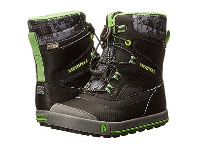Merrell Kids Snow Bank 2.0 Waterproof (Toddler/Little Kid) (Black/Grey/Green Leather) Boys Shoes