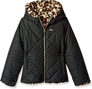 021ec888b1a Pacific Trail Girls' Quilted Jacket Reversible to Jungle Cat Faux Fur